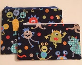 Zipper Bag Set / Essential Oil Bag / Make Up Bag - Monster