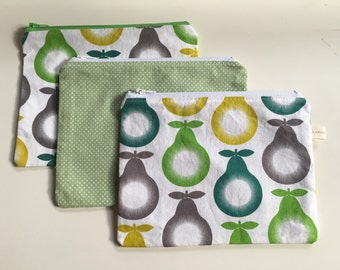 SALE   Large Zipper Bag / Essential Oil Bag / Make Up Bag / Food Bag / Pears or Green Dot