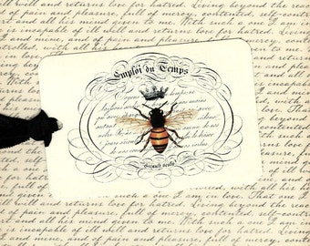 Tags, French Bee, Crowned Bee, Flea Market Style, Gift Tags