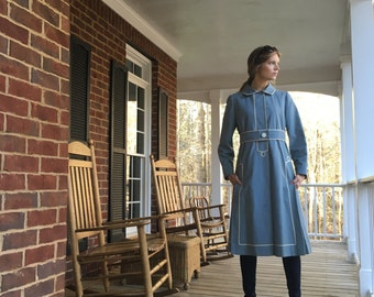 Blue Belted 60s Trench Dress Coat