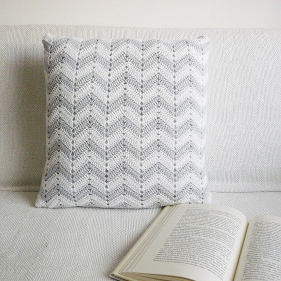 SALE - Chevron Crocheted Pillow - Organic Cotton Throw Pillow In Gray And White