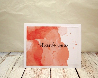 Watercolor Thank You Cards, Watercolor Thank You Card Set, Peach Watercolor, Salmon Watercolor, Thank You Card Set,