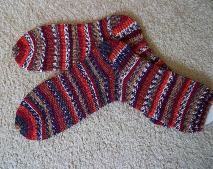 Socks - Hand Knitted Wool-Free Socks - Selfstriping in Mixed Colors of Brown, Blue, Beige - Unisex