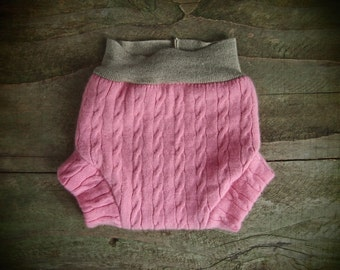Medium Stretchy Pink Cashmere and Merino Layered Cloth Diapering Soaker with 3rd layer in wetzone