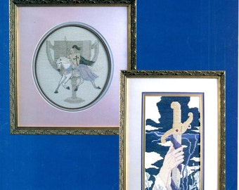 Excalibur and Holy Grail Knight in Armor White Horse Handled Cup Hand Sword in Lake Counted Cross Stitch Embroidery Craft Pattern Leaflet 84