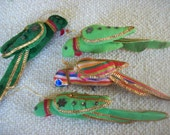 4 Vintage Decorative Fabric Birds for Hanging