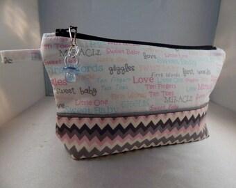 Baby Pregnancy Chevron Pacifier Ready to Ship Makeup Cosmetic Organizer Bag