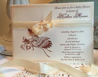 Stork Baby Shower Invitation, Neutral Baby Shower Baby Boy Baby Girl Vintage Style, Baby Shower Invitation