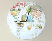 Floral Nature Collage World Map Wall Clock in Pretty Pastel Tones - Mother's Day Gift for Her - Unique Wall Decor - Unique Wall Clock - 1997