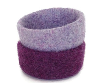 Felted Bowls Purple Set Of 2 Felt Bowl Basket Two Lavender Lilac Knitted Containers Soft Jewelry Storage Desk Organizer Ring Dish Catch All