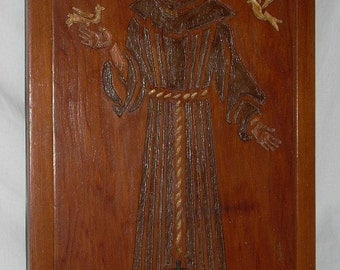 Mid Century Carved Wood St. Francis Picture Wall Art