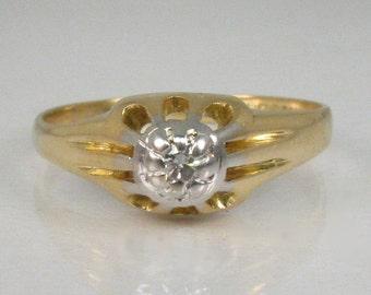 Antique Diamond Engagement Ring - 18K Yellow Gold