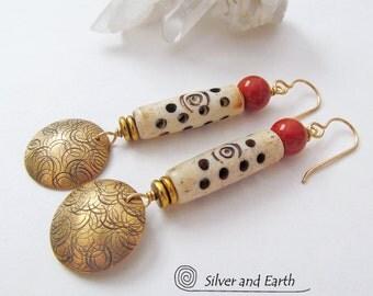 African Carved Bone Earrings, Red Jasper Earrings, Brass Tribal Earrings, Earthy Rustic Bohemian Boho Chic African Ethnic Tribal Jewelry