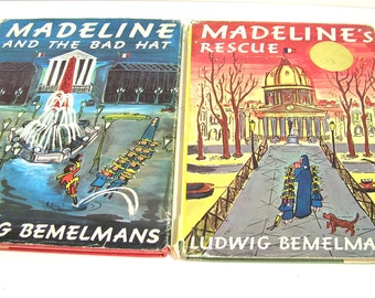 Vintage Madeline Books, 1960s Editions, Madeline And The Bad Hat and Madeline's Rescue, Vintage Books