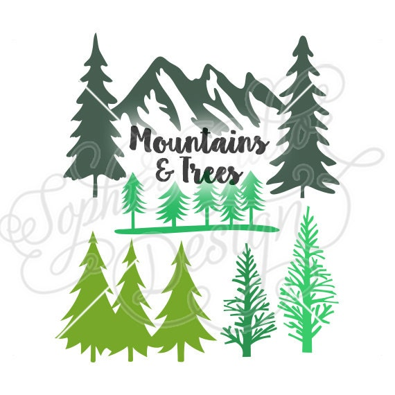 Mountains Woods Amp Trees Svg Dxf Digital By Sophiespaperhouse