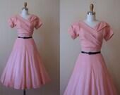40s Dress - Vintage 1940s Dress - Blush Pink Wool Atomic Rhinestone Dress XS S - Stars at Dawn Dress