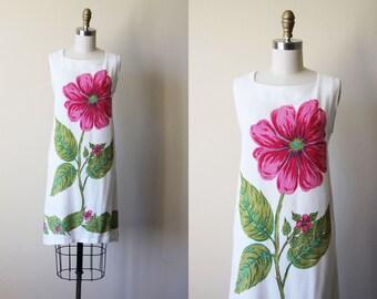 60s Dress - Vintage 1960s Dress - Linen Pink Graphic Floral Print Sundress - Fleurette Dress