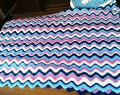 Vintage Zigzag Crocheted Afghan Blanket Throw