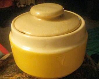 Cute Retro Yellow & White Sugar Bowl