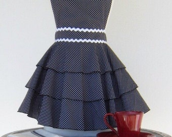 Diva Apron  - Black with White polka dots and rick rack trim.
