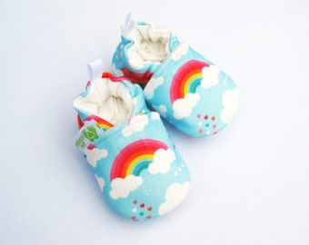 Organic Knits Vegan Love Rainbows in Blue / All Fabric Soft Sole Baby Shoes / Made to Order /  Babies