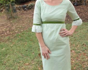 GIFT WRAP - 1960s Maxi Dress Dotted Swiss Gorgeous Green Moss Spring Festive Bell Sleeve Classic Retro Hostess Mad Men Velvet Ribbon Sm