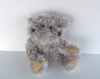 Grey brown Janus Bear, cute altered recycled stuffed toy