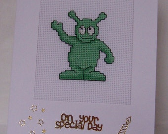 Green Alien or Monster Handmade  Completed Cross Stitch  Card, Birthday card, Greeting Card, Hand Stitched cross stitch birthday card