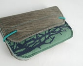 Wallet of green and grey leather with screenprint