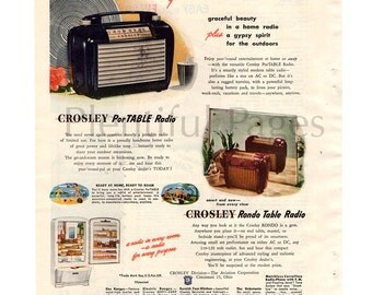 1947 Crosley Radio Vintage Ad, 1940's Radio, PorTABLE Radio, Rondo Table Radio, 1940's Decor, Retro Radio, Advertising Art, Great to Frame.