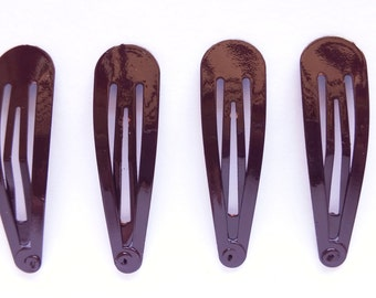 24 Pcs Hair Snap Clip for girl Size 50  Mm Dark Brown color
