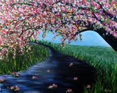 Tree Painting, Spring Landscape, River Painting, Pink Blossom, Landscape, Acrylic, Wimsical Tree, Water Lilies, Lily Pads,  Helen Eaton