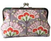 Clutch purse, Gray and Orange, Christmas, bridesmaid, wedding, birthday, summer clutch, bridal party gift