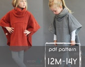 Veritas cape poncho pattern and tutorial 12m-14y  holiday jacket  coat bolero PDF