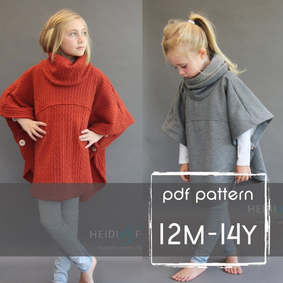 NEW Veritas cape poncho pattern and tutorial 12m-14y  holiday jacket  coat bolero PDF