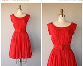 25% OFF SALE... Vintage Valentines Day Dress | 1950s Mollie Parnis Dress | Vintage 1950s Dress | 50s Red Dress | Vintage 50s Dress