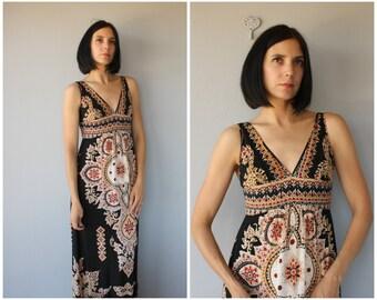 Vintage 1990s does 1970s Dress | Vintage Maxi Dress | 90s does 70s Maxi Dress  | 70s Dress