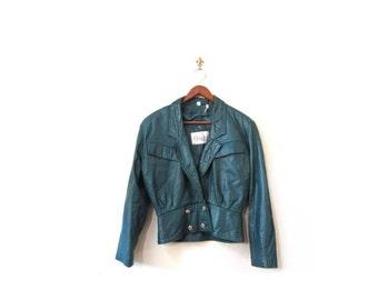 BTS SALE Vintage 80s Retro Green LAMBSKIN Bomber Jacket xs s