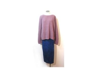BTS SALE Vintage 80s Cobalt Blue Suede Leather OMBRE Minimalist Ankle Skirt Maxi Skirt xs s