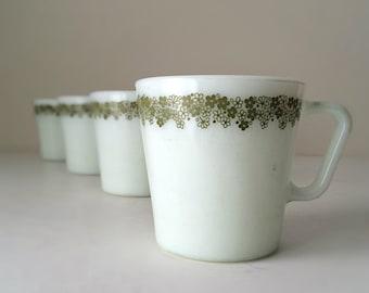 1970's Vintage Pyrex Coffee Mugs Set of 4 - Spring Blossom Green Floral Design - Vintage Kitchen, Vintage Milk Glass Coffee / Tea Mugs