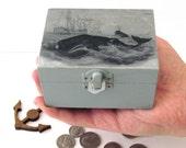 Whale Hunt Rustic Small Wooden Box - Whale theme decorative keepsake box - Nautical Jewelry Box