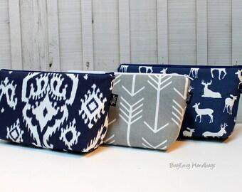 Large Make Up Bag / Diaper Clutch / Bridesmaid Clutch - Navy Ikat - Grey Arrows - Deer - You Choose