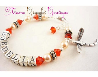 Girl's Name bracelet with silver dragonfly charm- or choose colors /charm /name and size- orange or any crystals