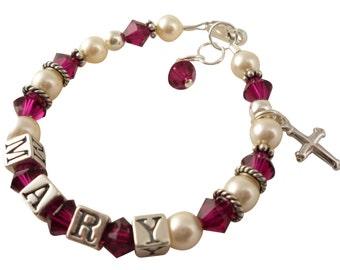 White pearl cross bracelet, swarovski ruby christening bracelet, name baptism bracelet for girls, flower girl name bracelet, silver