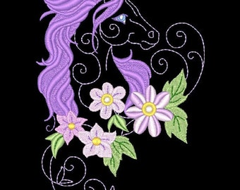 FANTASY FLORAL HORSES #1- 1 Machine Embroidery Design Instant Download 4x4 5x7 6x10 hoop (AzEB)