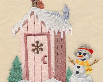 WINTER OUTHOUSE - HERS  - Machine Embroidery Quilt Block (AzEB)