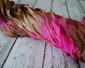Hand Dyed ribbon - BRONZED ROUGE half inch ribbon, 5 yards