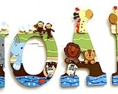 Personalized 9 inch wood hand-painted letters - Noah's Ark - Reserved for Lorie