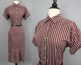 vintage 80s Striped 30s-Style Shirtwaist Dress / 1980s Gray and Burgundy Stripe Pleated Hem Cotton Blend Day Dress / Medium Large