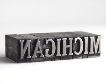 MICHIGAN - 36pt Vintage Metal Letterpress